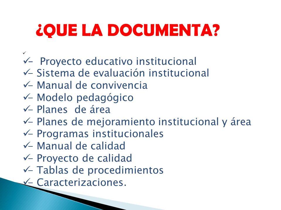 - Proyecto educativo institucional - Sistema de evaluación institucional - Manual de convivencia - Modelo pedagógico - Planes de área - Planes de mejo