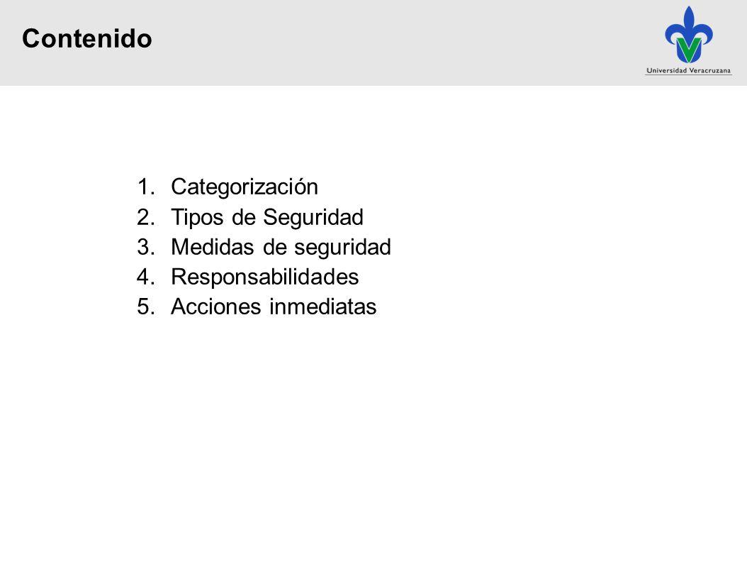 1.Categorización 2.Tipos de Seguridad 3.Medidas de seguridad 4.Responsabilidades 5.Acciones inmediatas Contenido