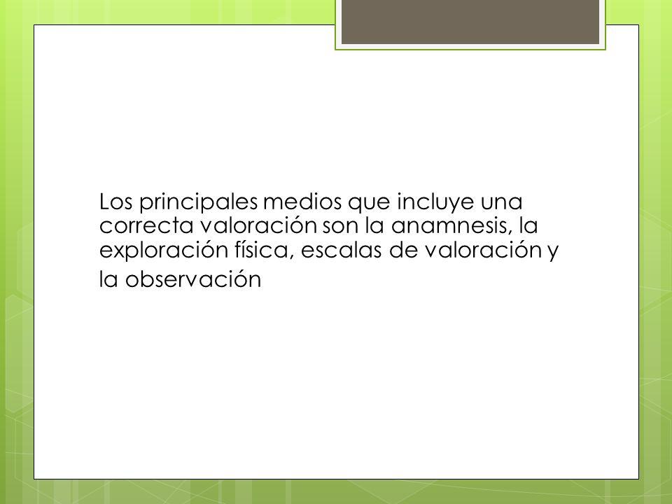 Los principales medios que incluye una correcta valoración son la anamnesis, la exploración física, escalas de valoración y la observación