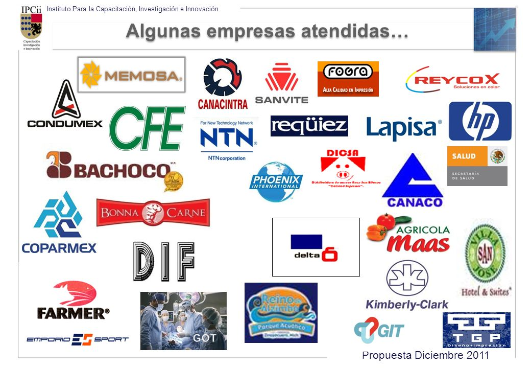 Propuesta Diciembre 2011 Instituto Para la Capacitación, Investigación e Innovación Algunas empresas atendidas…