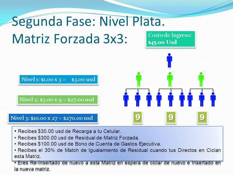 Segunda Fase: Nivel Plata. Matriz Forzada 3x3: 999999 Nivel 1: $1.00 x 3 = $3.00 usd Nivel 2: $3.00 x 9 = $27.00 usd Nivel 3: $10.00 x 27 = $270.00 us