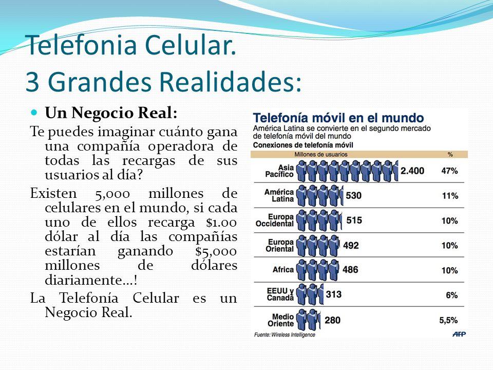 Telefonia Celular. 3 Grandes Realidades: Un Negocio Real: Te puedes imaginar cuánto gana una compañía operadora de todas las recargas de sus usuarios