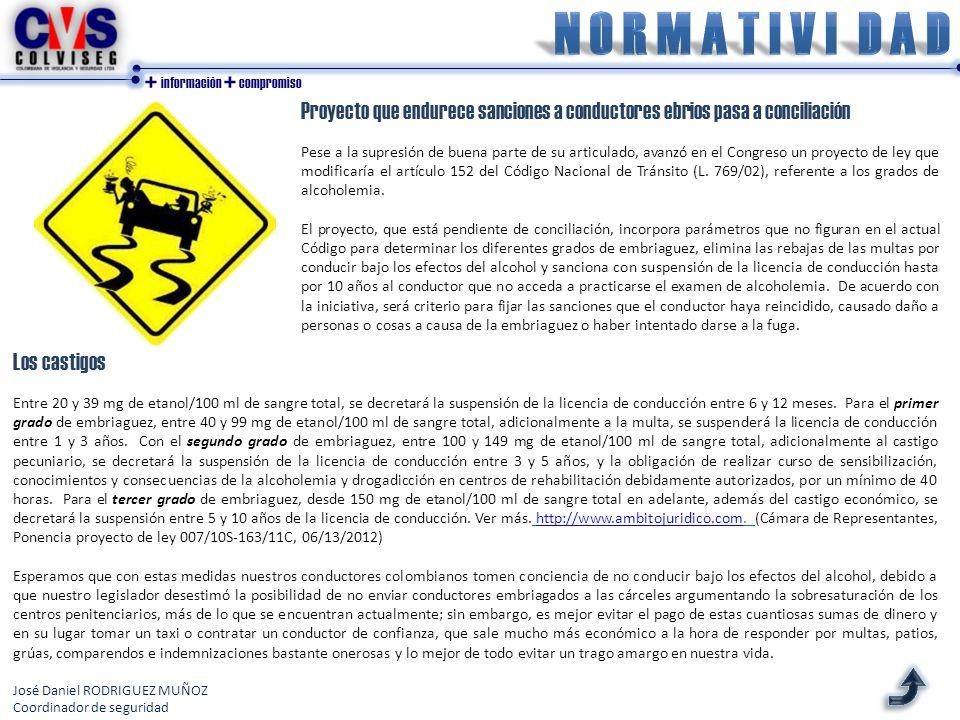 + información + compromiso Los castigos Entre 20 y 39 mg de etanol/100 ml de sangre total, se decretará la suspensión de la licencia de conducción entre 6 y 12 meses.