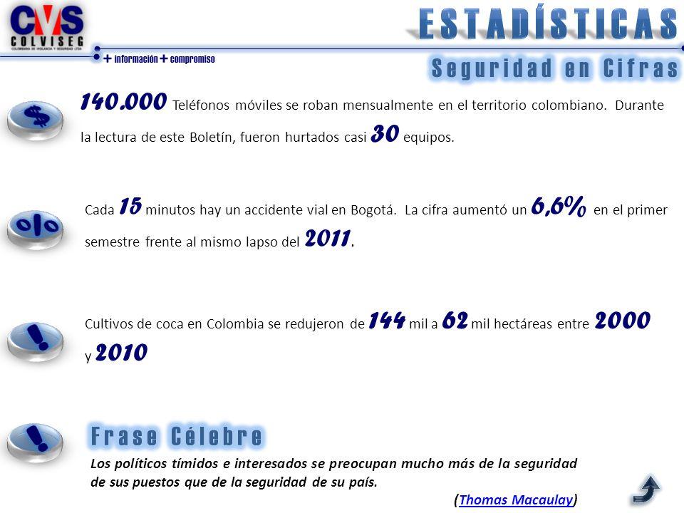 + información + compromiso 140.000 Teléfonos móviles se roban mensualmente en el territorio colombiano. Durante la lectura de este Boletín, fueron hur