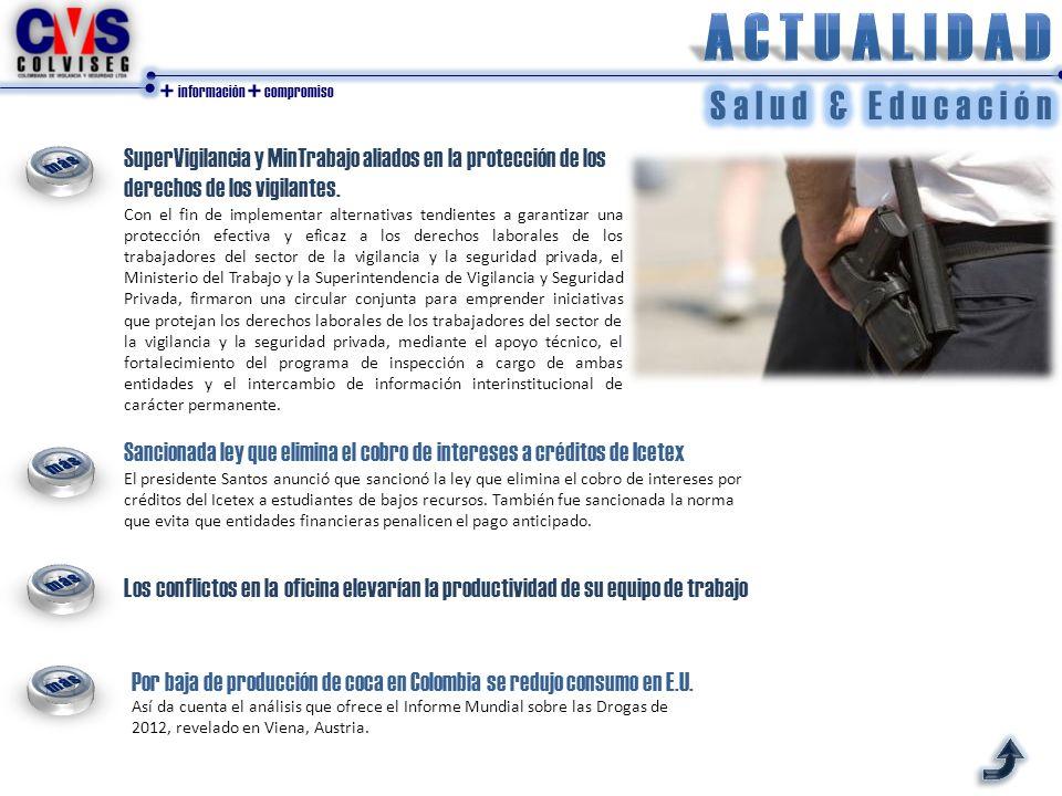 + información + compromiso Por baja de producción de coca en Colombia se redujo consumo en E.U.