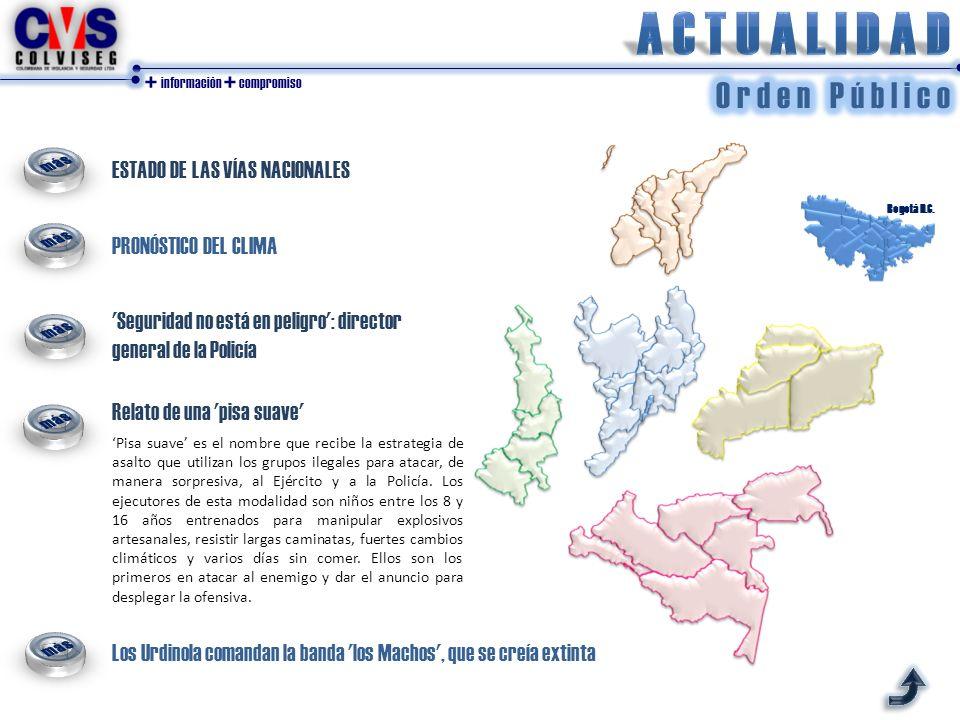 + información + compromiso ESTADO DE LAS VÍAS NACIONALES PRONÓSTICO DEL CLIMA Bogotá D.C. Pisa suave es el nombre que recibe la estrategia de asalto q