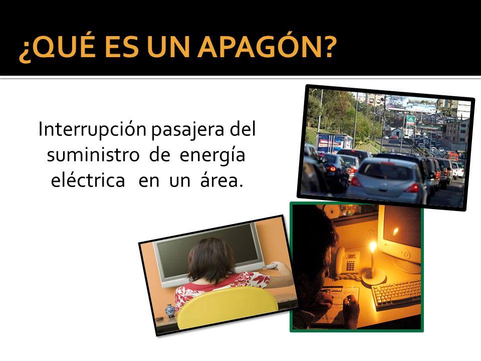 Interrupción pasajera del suministro de energía eléctrica en un área. ¿QUÉ ES UN APAGÓN?