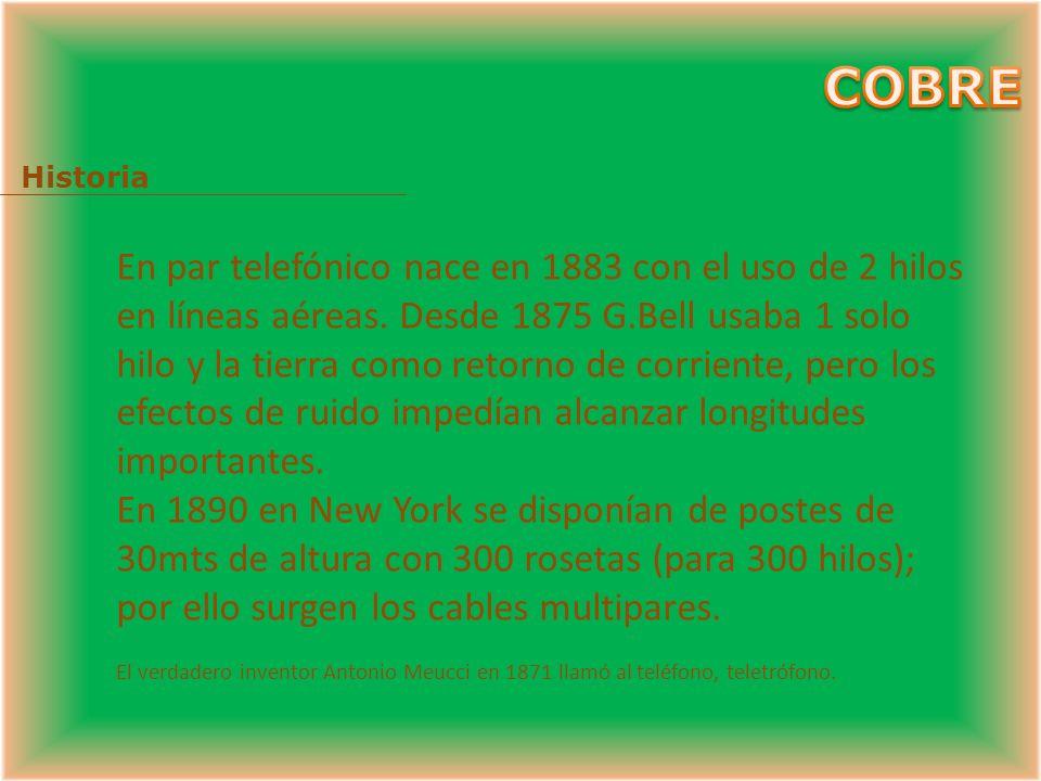 COBRE + Historia + Consideraciones técnicas. + Diagrama de red Telefónica conmutada. + Tipos de cables. + Diseño. + Servicios. + Cableado Estructurado