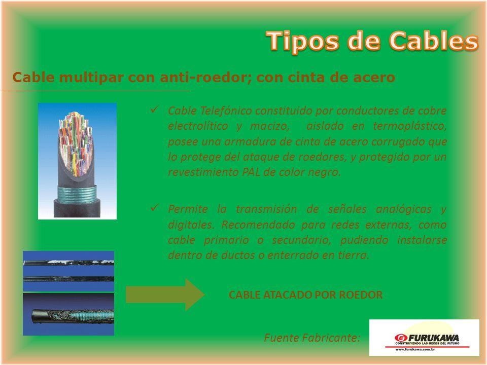 Cable Telefónico constituido por conductores de cobre electrolítico y macizo de calibre 0.4, 0.5, 0.65, aislados con termoplástico expandido y sobre e