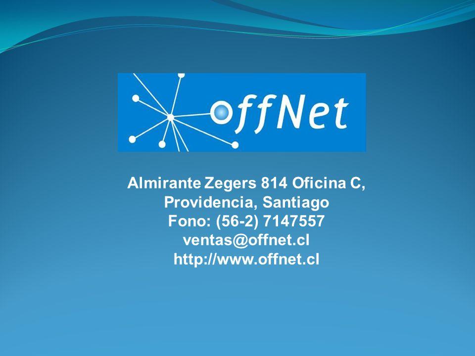 Almirante Zegers 814 Oficina C, Providencia, Santiago Fono: (56-2) 7147557 ventas@offnet.cl http://www.offnet.cl