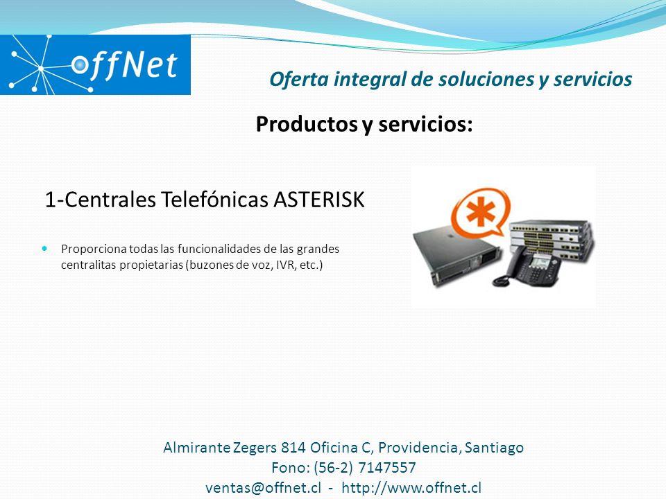 1-Centrales Telefónicas ASTERISK Proporciona todas las funcionalidades de las grandes centralitas propietarias (buzones de voz, IVR, etc.) Oferta inte