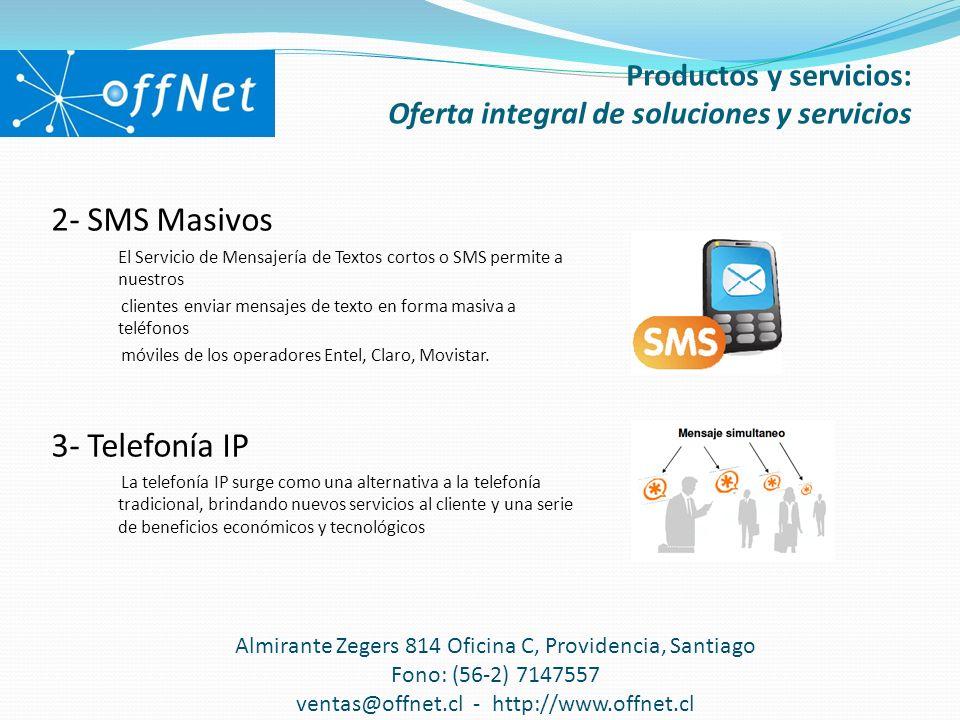 2- SMS Masivos El Servicio de Mensajería de Textos cortos o SMS permite a nuestros clientes enviar mensajes de texto en forma masiva a teléfonos móviles de los operadores Entel, Claro, Movistar.