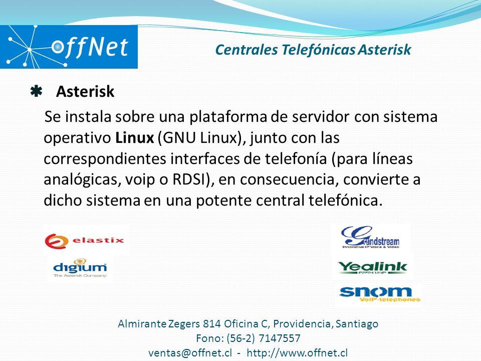 Asterisk Se instala sobre una plataforma de servidor con sistema operativo Linux (GNU Linux), junto con las correspondientes interfaces de telefonía (para líneas analógicas, voip o RDSI), en consecuencia, convierte a dicho sistema en una potente central telefónica.