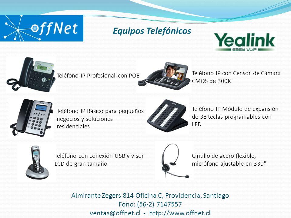Equipos Telefónicos Almirante Zegers 814 Oficina C, Providencia, Santiago Fono: (56-2) 7147557 ventas@offnet.cl - http://www.offnet.cl Teléfono IP Pro