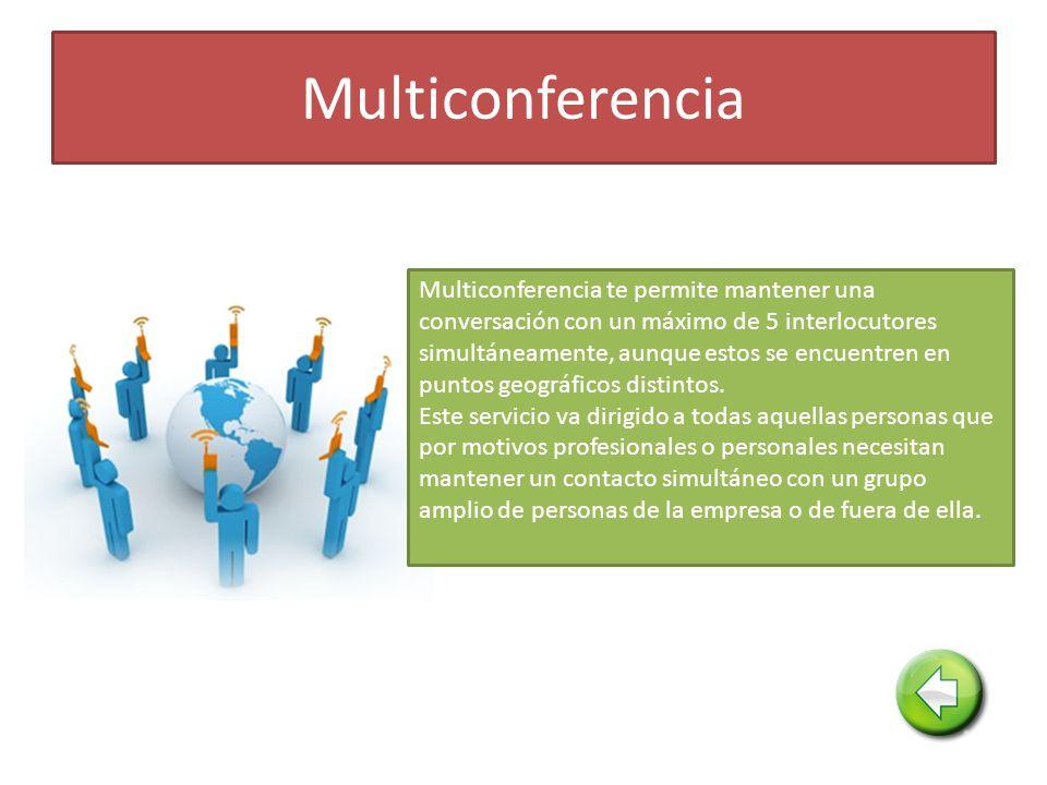 Multiconferencia Multiconferencia te permite mantener una conversación con un máximo de 5 interlocutores simultáneamente, aunque estos se encuentren en puntos geográficos distintos.