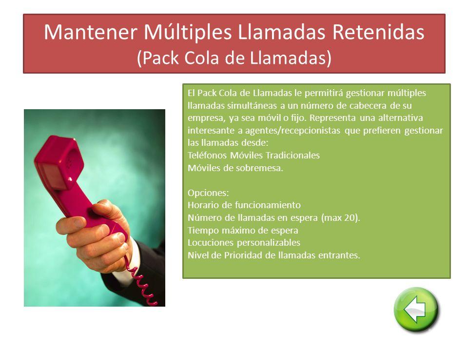 Mantener Múltiples Llamadas Retenidas (Pack Cola de Llamadas) El Pack Cola de Llamadas le permitirá gestionar múltiples llamadas simultáneas a un número de cabecera de su empresa, ya sea móvil o fijo.