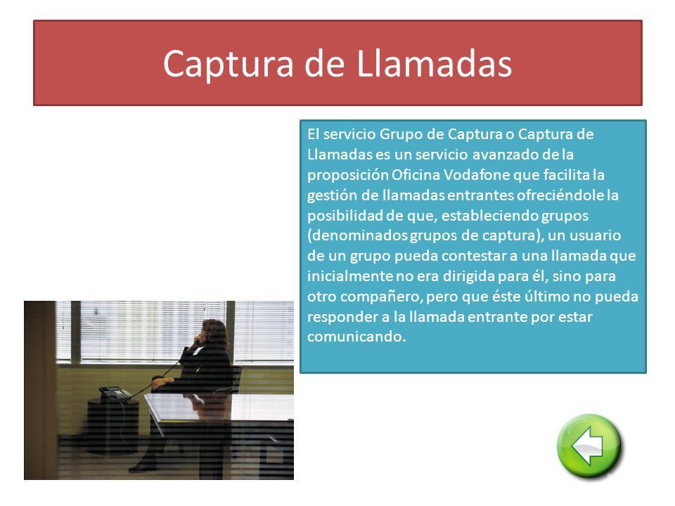 Captura de Llamadas El servicio Grupo de Captura o Captura de Llamadas es un servicio avanzado de la proposición Oficina Vodafone que facilita la gest