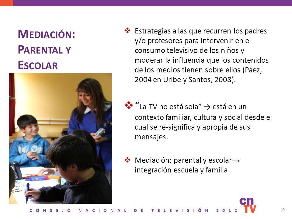 CONSEJO NACIONAL DE TELEVISIÓN 2012 M EDIACIÓN : P ARENTAL Y E SCOLAR Estrategias a las que recurren los padres y/o profesores para intervenir en el c