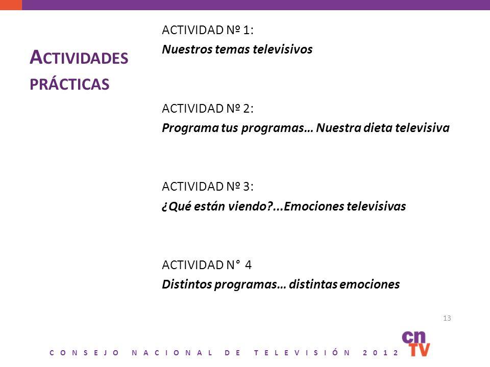 CONSEJO NACIONAL DE TELEVISIÓN 2012 A CTIVIDADES PRÁCTICAS ACTIVIDAD Nº 1: Nuestros temas televisivos ACTIVIDAD Nº 2: Programa tus programas… Nuestra