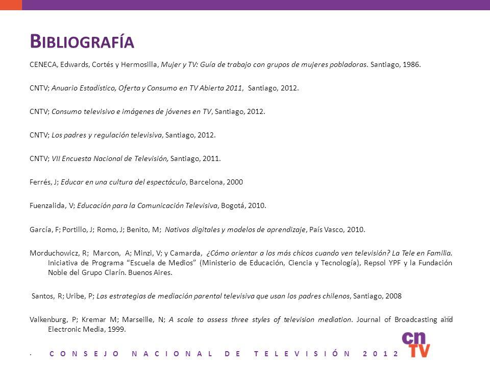 CONSEJO NACIONAL DE TELEVISIÓN 2012 B IBLIOGRAFÍA CENECA, Edwards, Cortés y Hermosilla, Mujer y TV: Guía de trabajo con grupos de mujeres pobladoras.