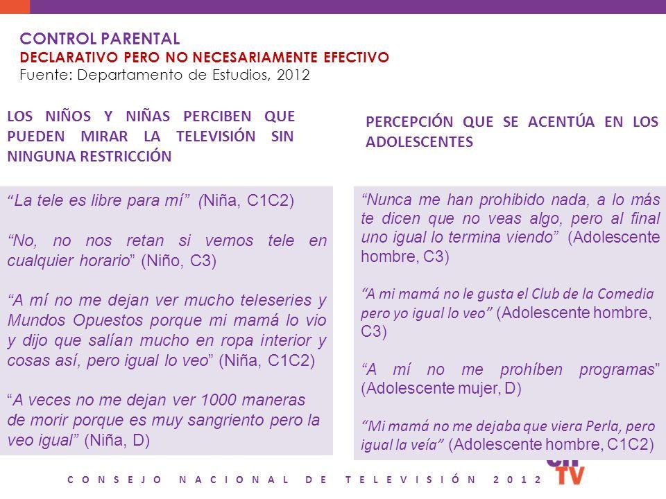 CONSEJO NACIONAL DE TELEVISIÓN 2012 CONTROL PARENTAL DECLARATIVO PERO NO NECESARIAMENTE EFECTIVO Fuente: Departamento de Estudios, 2012 LOS NIÑOS Y NI