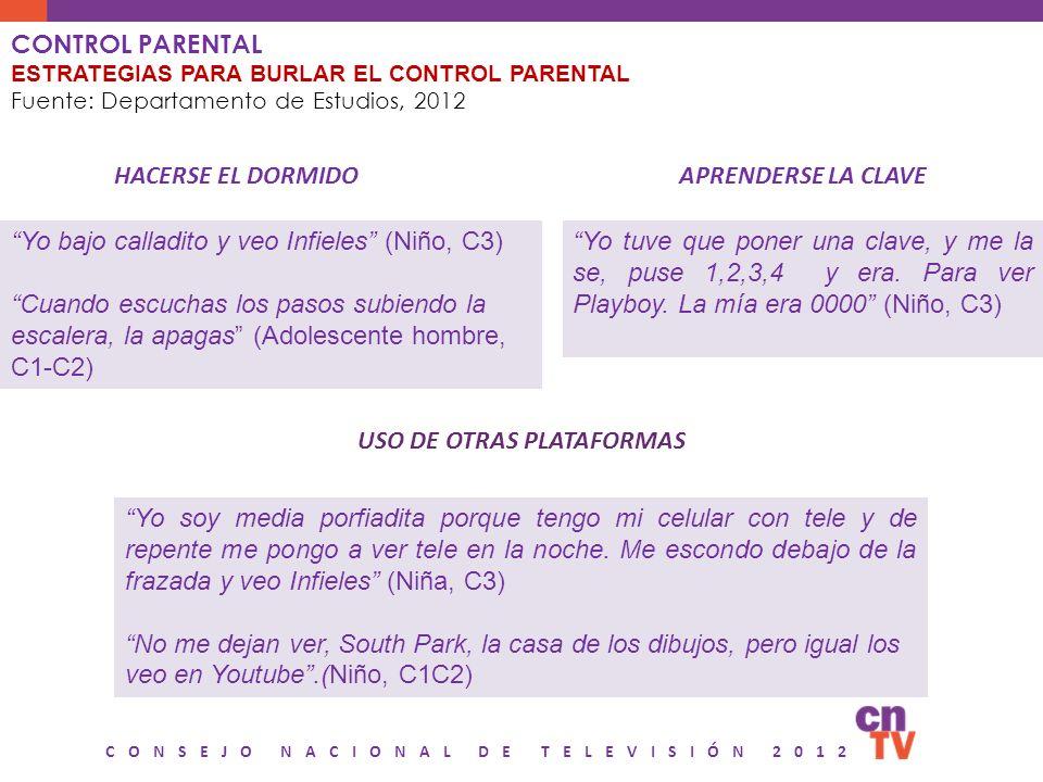 CONSEJO NACIONAL DE TELEVISIÓN 2012 CONTROL PARENTAL ESTRATEGIAS PARA BURLAR EL CONTROL PARENTAL Fuente: Departamento de Estudios, 2012 Yo bajo callad