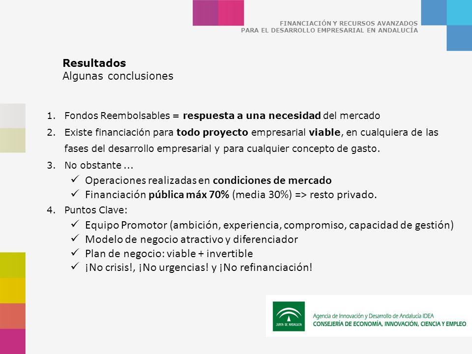 Resultados Algunas conclusiones FINANCIACIÓN Y RECURSOS AVANZADOS PARA EL DESARROLLO EMPRESARIAL EN ANDALUCÍA 1.Fondos Reembolsables = respuesta a una