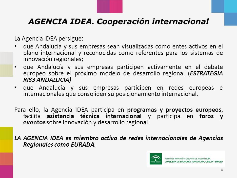 AGENCIA IDEA. Cooperación internacional La Agencia IDEA persigue: que Andalucía y sus empresas sean visualizadas como entes activos en el plano intern