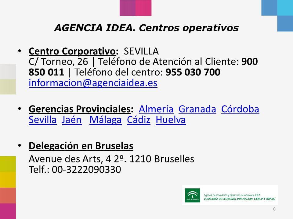 Centro Corporativo: SEVILLA C/ Torneo, 26 | Teléfono de Atención al Cliente: 900 850 011 | Teléfono del centro: 955 030 700 informacion@agenciaidea.es