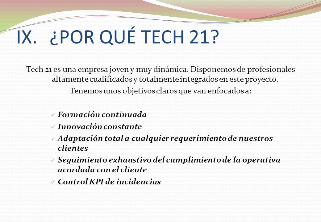 IX.¿POR QUÉ TECH 21? Tech 21 es una empresa joven y muy dinámica. Disponemos de profesionales altamente cualificados y totalmente integrados en este p