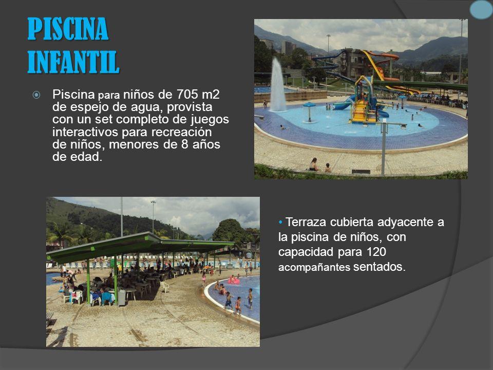 PISCINA INFANTIL Piscina para niños de 705 m2 de espejo de agua, provista con un set completo de juegos interactivos para recreación de niños, menores de 8 años de edad.