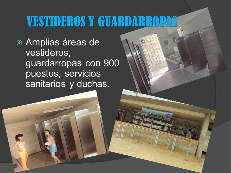 Amplias áreas de vestideros, guardarropas con 900 puestos, servicios sanitarios y duchas.