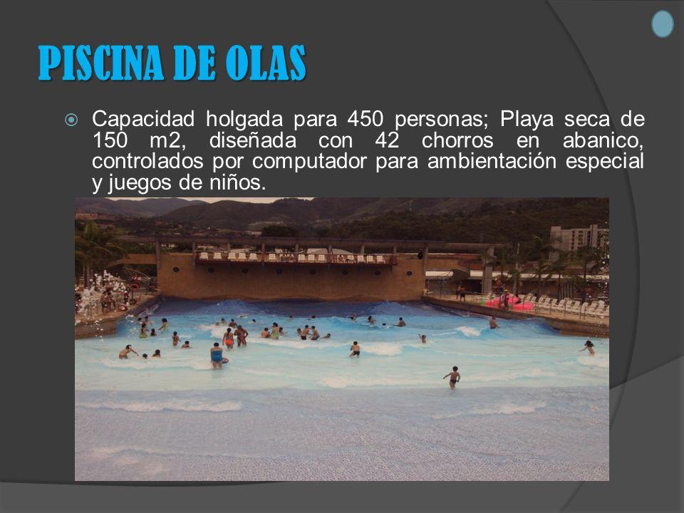 PISCINA DE OLAS Capacidad holgada para 450 personas; Playa seca de 150 m2, diseñada con 42 chorros en abanico, controlados por computador para ambientación especial y juegos de niños.