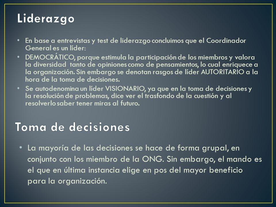 En base a entrevistas y test de liderazgo concluimos que el Coordinador General es un líder: DEMOCRÁTICO, porque estimula la participación de los miem