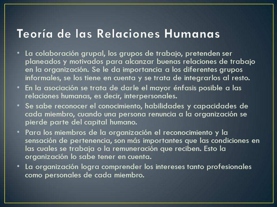 La colaboración grupal, los grupos de trabajo, pretenden ser planeados y motivados para alcanzar buenas relaciones de trabajo en la organización. Se l