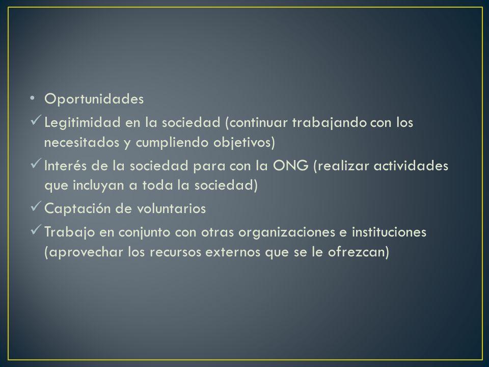 Oportunidades Legitimidad en la sociedad (continuar trabajando con los necesitados y cumpliendo objetivos) Interés de la sociedad para con la ONG (rea