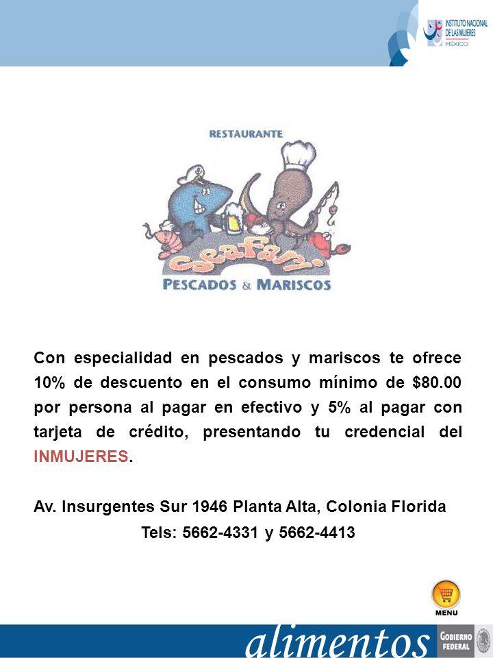 Con especialidad en pescados y mariscos te ofrece 10% de descuento en el consumo mínimo de $80.00 por persona al pagar en efectivo y 5% al pagar con t