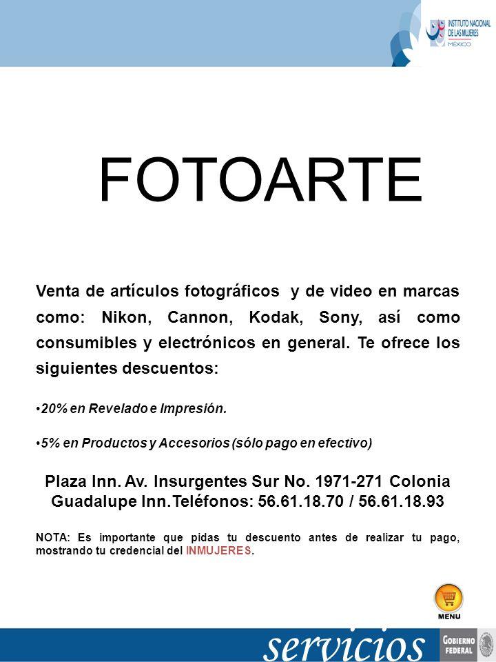 servicios Venta de artículos fotográficos y de video en marcas como: Nikon, Cannon, Kodak, Sony, así como consumibles y electrónicos en general. Te of