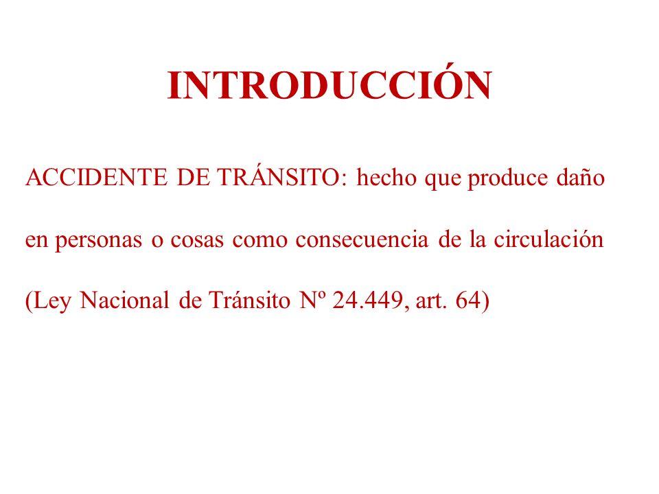 ACCIDENTE DE TRÁNSITO: hecho que produce daño en personas o cosas como consecuencia de la circulación (Ley Nacional de Tránsito Nº 24.449, art. 64) IN