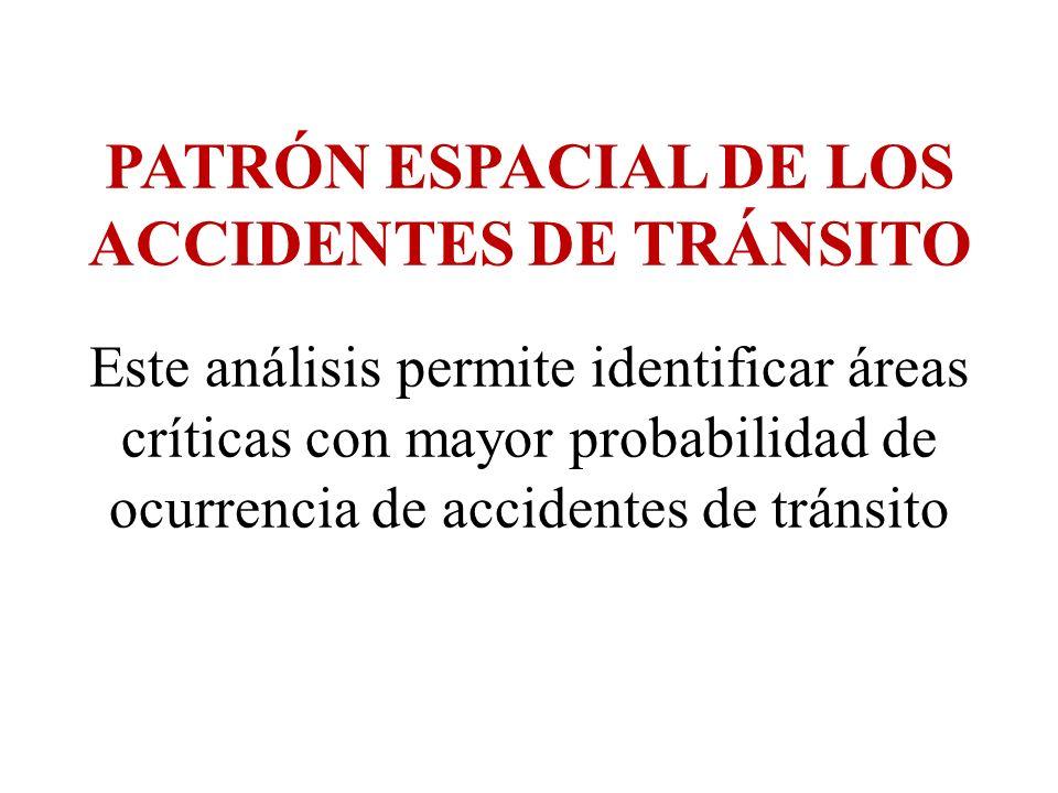 PATRÓN ESPACIAL DE LOS ACCIDENTES DE TRÁNSITO Este análisis permite identificar áreas críticas con mayor probabilidad de ocurrencia de accidentes de t