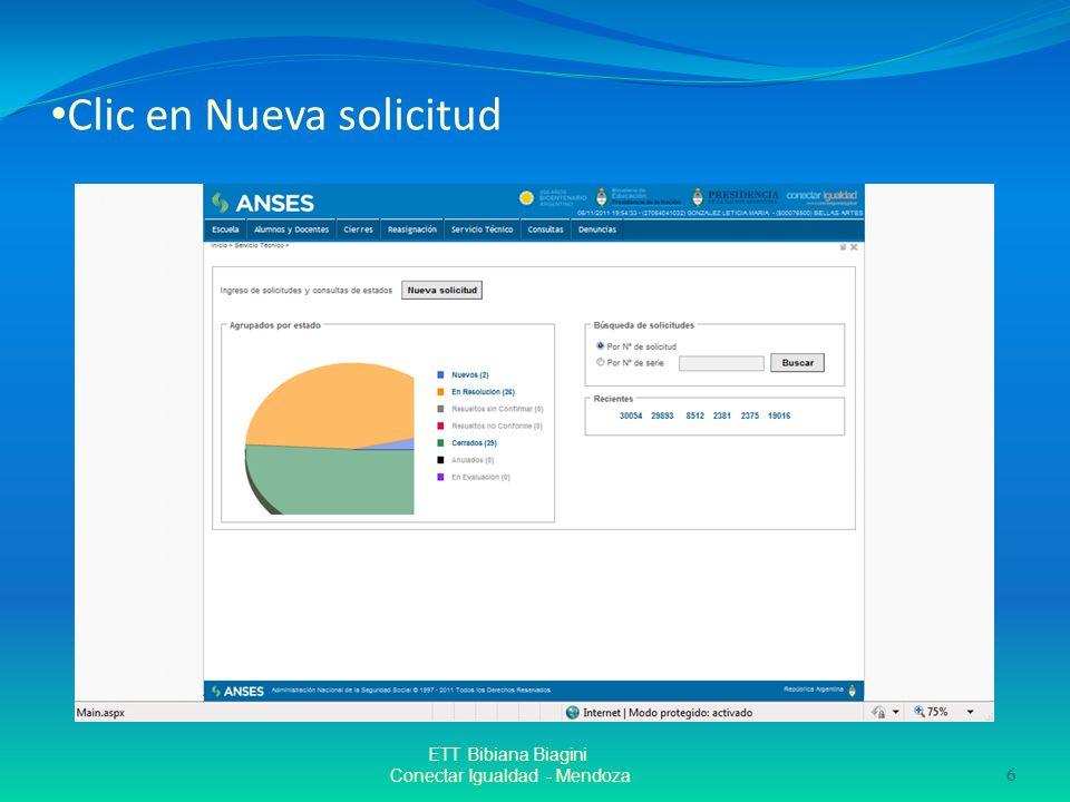 Clic en Nueva solicitud ETT Bibiana Biagini Conectar Igualdad - Mendoza 6