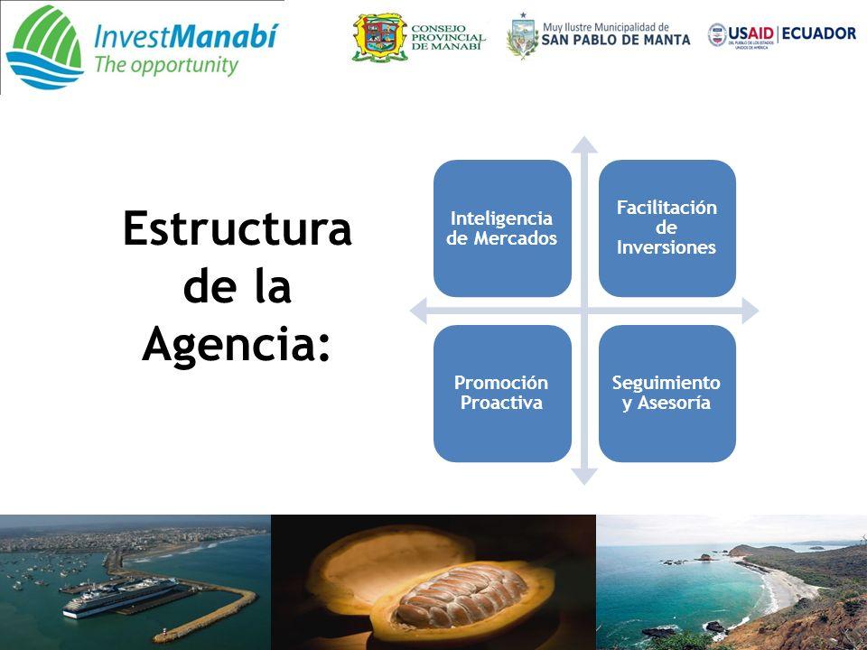 Estructura de la Agencia: Inteligencia de Mercados Facilitación de Inversiones Promoción Proactiva Seguimiento y Asesoría