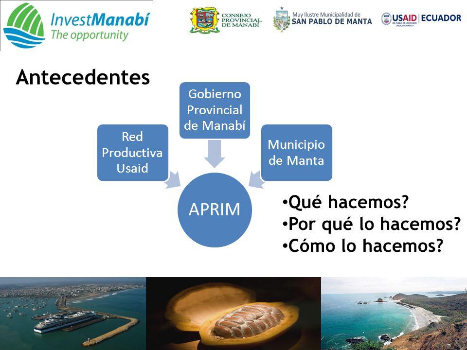 APRIM Red Productiva Usaid Gobierno Provincial de Manabí Municipio de Manta Antecedentes Qué hacemos.