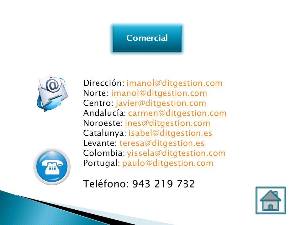 Comercial Dirección: imanol@ditgestion.comimanol@ditgestion.com Norte: imanol@ditgestion.comimanol@ditgestion.com Centro: javier@ditgestion.comjavier@
