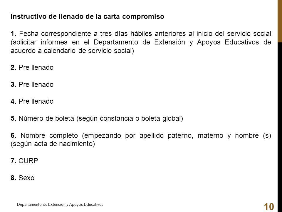 Instructivo de llenado de la carta compromiso 1. Fecha correspondiente a tres días hábiles anteriores al inicio del servicio social (solicitar informe
