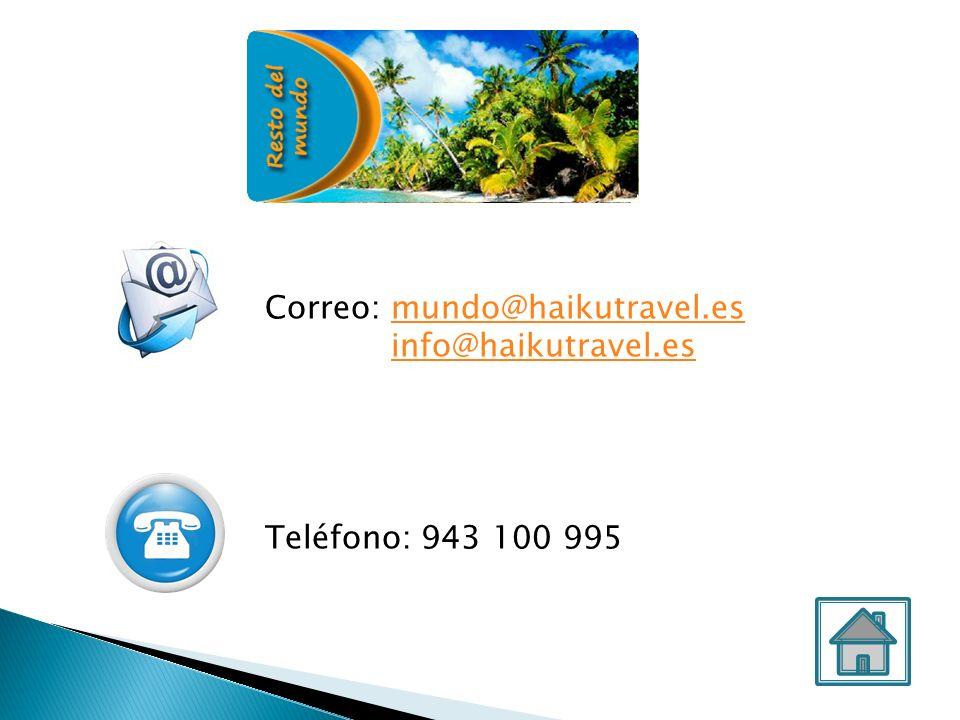 Correo: costaseislas@haikutravel.escostaseislas@haikutravel.es info@haikutravel.es Teléfono: 943 100 995 Teléfono urgencias para cliente final: 661 614 748 Costas e Islas
