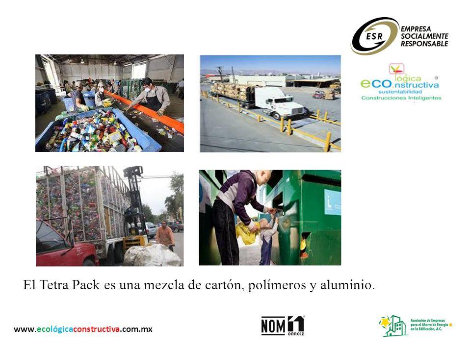El Tetra Pack es una mezcla de cartón, polímeros y aluminio. www.ecológicaconstructiva.com.mx