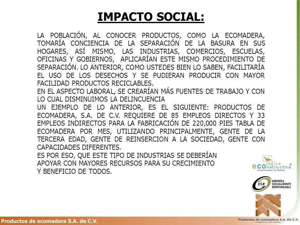 IMPACTO SOCIAL: LA POBLACIÓN, AL CONOCER PRODUCTOS, COMO LA ECOMADERA, TOMARÍA CONCIENCIA DE LA SEPARACIÓN DE LA BASURA EN SUS HOGARES, ASÍ MISMO, LAS