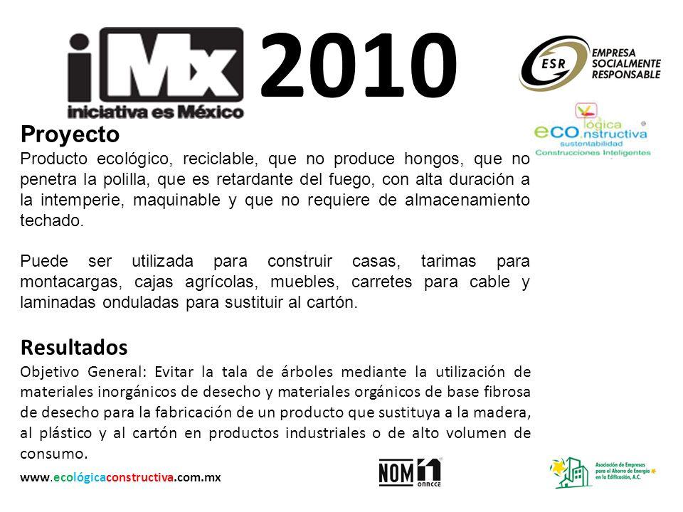 2010 Proyecto Producto ecológico, reciclable, que no produce hongos, que no penetra la polilla, que es retardante del fuego, con alta duración a la in