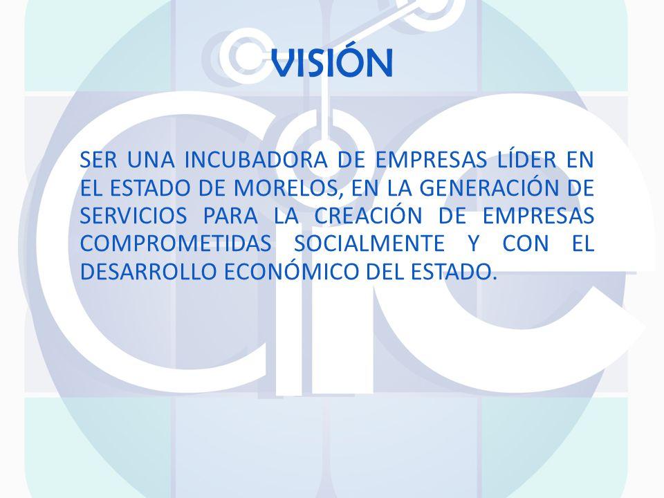 VISIÓN SER UNA INCUBADORA DE EMPRESAS LÍDER EN EL ESTADO DE MORELOS, EN LA GENERACIÓN DE SERVICIOS PARA LA CREACIÓN DE EMPRESAS COMPROMETIDAS SOCIALME